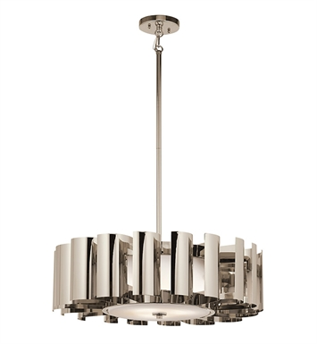 Kichler 42836PN Ziva Collection Chandelier/ Pendant 3 Light in Polished Nickel