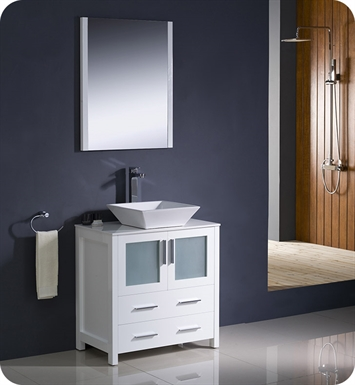 "Fresca FVN6230WH-VSL Torino 30"" Modern Bathroom Vanity with Vessel Sink in White"