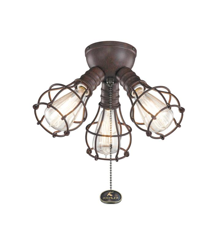 Kichler 370041SBK 3 Light Industrial Ceiling Fan Light Kit