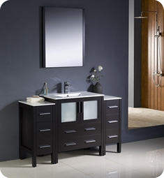 "Fresca FVN62-123012ES-UNS Torino 54"" Modern Bathroom Vanity with 2 Side Cabinets and Integrated Sink in Espresso"