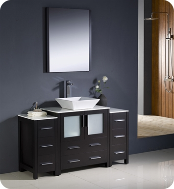 "Fresca FVN62-123012ES-VSL Torino 54"" Modern Bathroom Vanity with 2 Side Cabinets and Vessel Sink in Espresso"