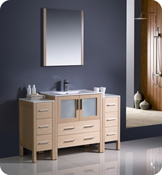 "Fresca FVN62-123012LO-UNS Torino 54"" Modern Bathroom Vanity with 2 Side Cabinets and Integrated Sink in Light Oak"