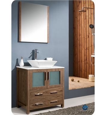 "Fresca FVN6230WB-VSL Torino 30"" Modern Bathroom Vanity with Vessel Sink in Walnut Brown"