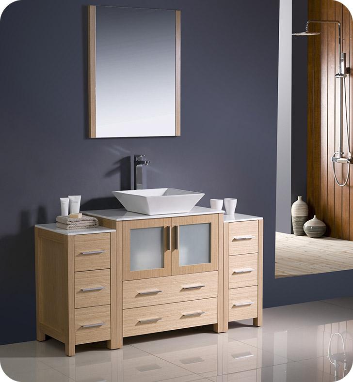 Fresca fvn62 123012lo vsl torino 54 modern bathroom for 54 bathroom vanity cabinet
