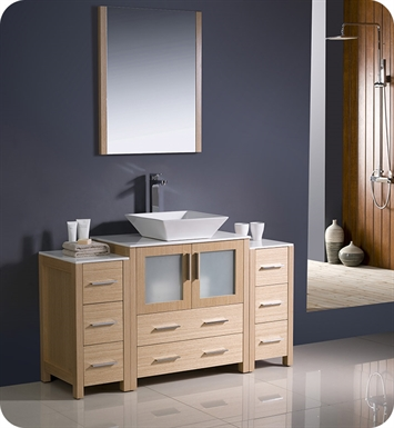 "Fresca FVN62-123012LO-VSL Torino 54"" Modern Bathroom Vanity with 2 Side Cabinets and Vessel Sink in Light Oak"