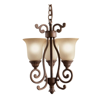 Kichler 2215TZG Larissa Collection Pendalette 3 Light in Tannery Bronze with Gold Accent