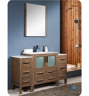"Fresca FVN62-123012WB-UNS Torino 54"" Modern Bathroom Vanity with 2 Side Cabinets and Integrated Sink in Walnut Brown"