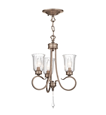 Kichler 43242BRSG Malina Collection Semi Flush Chandelier 3 Light