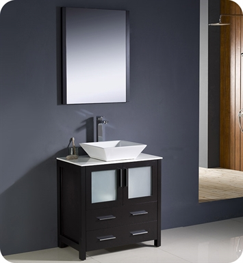 "Fresca FVN6230ES-VSL Torino 30"" Modern Bathroom Vanity with Vessel Sink in Espresso"