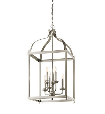 Kichler 42568NI Larkin Collection Foyer Pendant Cage 6 Light in Brushed Nickel