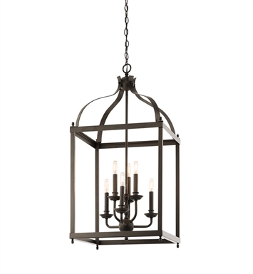 Kichler 42568OZ Larkin Collection Foyer Pendant Cage 6 Light in Olde Bronze