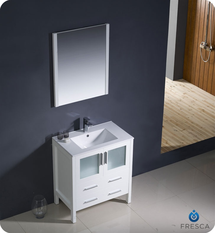 alt view name  alt view name. Fresca FVN6230WH UNS Torino 30  Modern Bathroom Vanity with