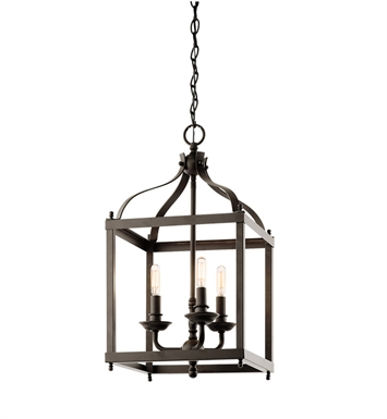 Kichler 42566OZ Larkin Collection Foyer Pendant Cage 3 Light in Olde Bronze