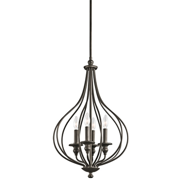 Kichler 43332OZ Kensington Collection Foyer Cage 4 Light in Olde Bronze