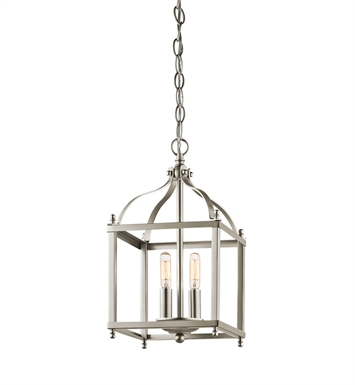 Kichler 42565NI Larkin Collection Foyer Pendant 2 Light in Brushed Nickel
