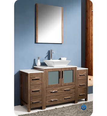 "Fresca Torino 54"" Walnut Brown Modern Bathroom Vanity with 2 Side Cabinets and Vessel Sink"