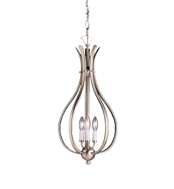 Kichler 2531NI Dover Collection Foyer Cage 3 Light in Brushed Nickel