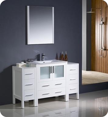 "Fresca FVN62-123012WH-UNS Torino 54"" Modern Bathroom Vanity with 2 Side Cabinets and Integrated Sink in White"