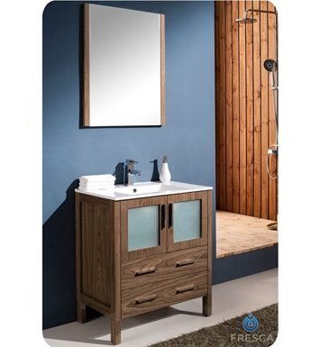 "Fresca FVN6230WB-UNS Torino 30"" Modern Bathroom Vanity with Integrated Sink in Walnut Brown"