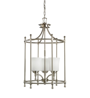 Kichler 2518NI Wharton Collection Foyer Cage 3 Light in Brushed Nickel
