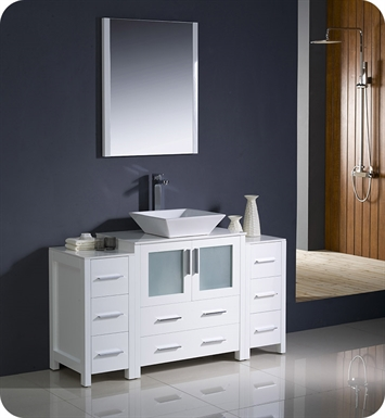 "Fresca FVN62-123012WH-VSL Torino 54"" Modern Bathroom Vanity with 2 Side Cabinets and Vessel Sink in White"