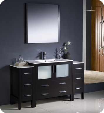 "Fresca FVN62-123612ES-UNS Torino 60"" Modern Bathroom Vanity with 2 Side Cabinets and Integrated Sink in Espresso"