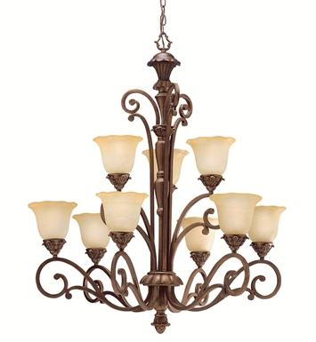 Kichler 1698PRZ Cheswick Collection Chandelier 9 Light in Parisian Bronze