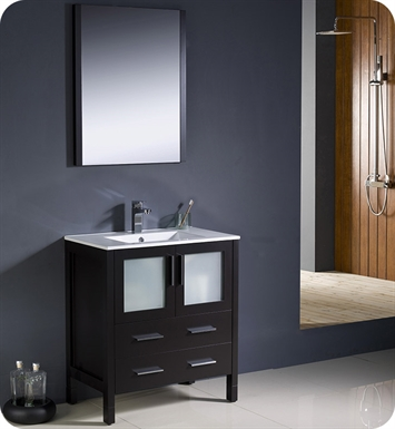 "Fresca Torino 30"" Espresso Modern Bathroom Vanity with Integrated Sink"