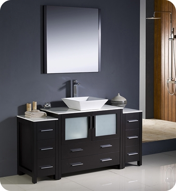"Fresca FVN62-123612ES-VSL Torino 60"" Modern Bathroom Vanity with 2 Side Cabinets and Vessel Sink in Espresso"