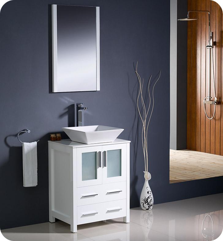 "24 Bathroom Vanity Clearance fresca fvn6224wh-vsl torino 24"" modern bathroom vanity with vessel"