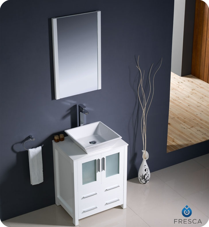 Fresca FVN6224WH VSL Torino 24 Modern Bathroom Vanity With Vessel Sink