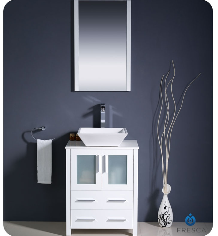 Fresca Fvn6224wh Vsl Torino 24 Modern Bathroom Vanity With Vessel Sink In White