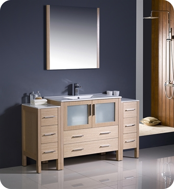 "Fresca FVN62-123612LO-UNS Torino 60"" Modern Bathroom Vanity with 2 Side Cabinets and Integrated Sink in Light Oak"