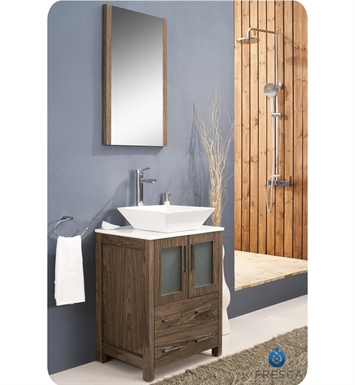 "Fresca FVN6224WB-VSL Torino 24"" Modern Bathroom Vanity with Vessel Sink in Walnut Brown"
