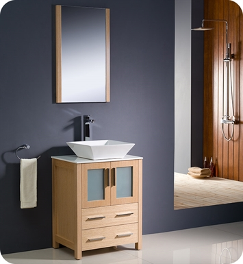 "Fresca FVN6224LO-VSL Torino 24"" Modern Bathroom Vanity with Vessel Sink in Light Oak"