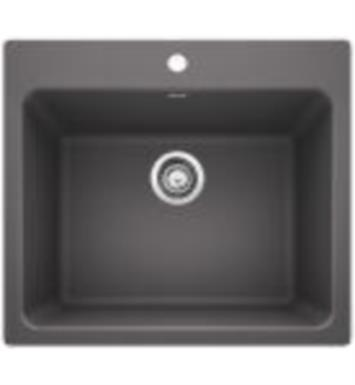 "Blanco 401923 Liven 25"" Single Bowl Drop In/Undermount Laundry Silgranit Kitchen Sink in Cinder"