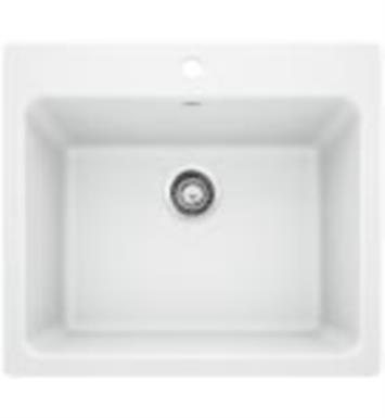 "Blanco 401927 Liven 25"" Single Bowl Drop In/Undermount Laundry Silgranit Kitchen Sink in White"