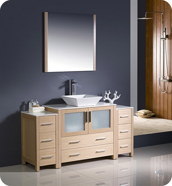 "Fresca Torino 60"" Light Oak Modern Bathroom Vanity with 2 Side Cabinets and Vessel Sink"