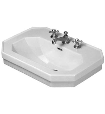 "Duravit 0438800000 1930 Series 31 1/2"" Wall Mount Bathroom Sink with Overflow and Tap Platform With WonderGliss Surface Finish: Without WonderGliss And Faucet Holes: Single Hole"
