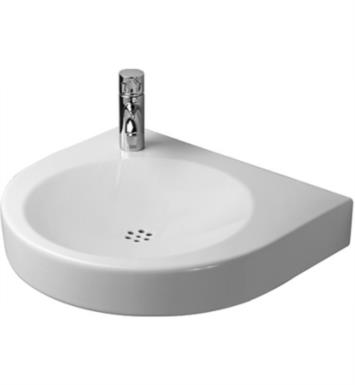 "Duravit 0443580023 Architec 22 5/8"" Wall Mount Bathroom Sink with Tap Platform With WonderGliss Surface Finish: Without WonderGliss And Faucet Holes: Single Hole on Left Side Soap Dispenser on Right Side"