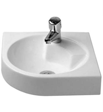 "Duravit 0448450023 Architec 25"" Wall Mount Bathroom Sink without Overflow and with Tap Platform With WonderGliss Surface Finish: Without WonderGliss And Faucet Holes: Single Hole on Left Side Soap Dispenser on Right Side"