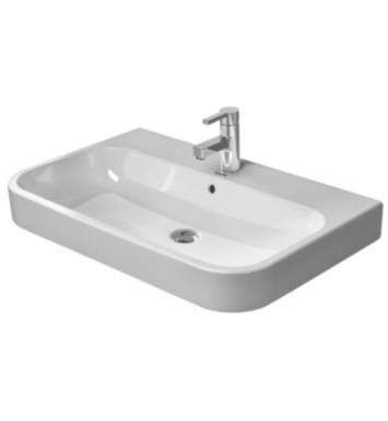 "Duravit 2318650000 Happy D.2 25 5/8"" Wall Mount Bathroom Sink with Overflow With Mount Type: Unrounded with 1 Tap Hole And WonderGliss Surface Finish: Without WonderGliss"