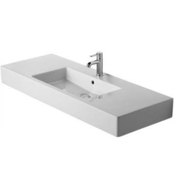 "Duravit 03291200001 Vero 49 1/4"" Wall Mount Bathroom Sink with Overflow and Tap Platform With WonderGliss Surface Finish: With WonderGliss And Faucet Holes: Single Hole"