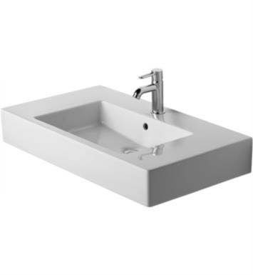 "Duravit 03298500001 Vero 33 1/2"" Wall Mount Bathroom Sink with Overflow and Tap Platform With WonderGliss Surface Finish: With WonderGliss And Faucet Holes: Single Hole"