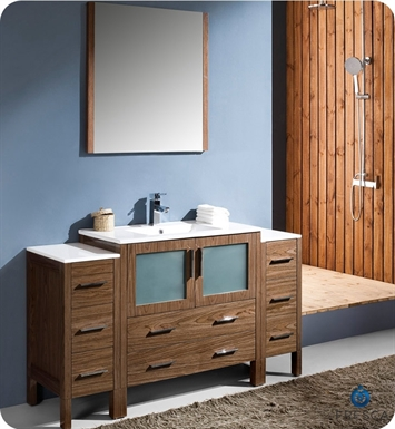 "Fresca FVN62-123612WB-UNS Torino 60"" Modern Bathroom Vanity with 2 Side Cabinets and Integrated Sink in Walnut Brown"