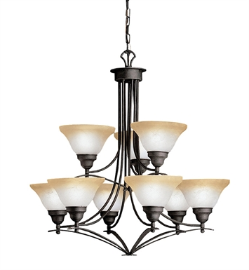 Kichler 1848DBK Pomeroy Collection Chandelier 9 Light in Distressed Black