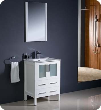 "Fresca FVN6224WH-UNS Torino 24"" Modern Bathroom Vanity with Integrated Sink in White"