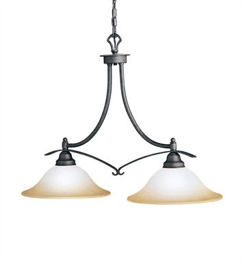 Kichler 2944DBK Pomeroy Collection Chandelier Island 2 Light in Distressed Black