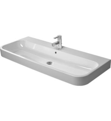 "Duravit 2318120030 Happy D.2 47 1/4"" Wall Mount Bathroom Sink with Overflow and Tap Platform With Mount Type: Ungrounded with 3 Tap Holes And WonderGliss Surface Finish: Without WonderGliss"
