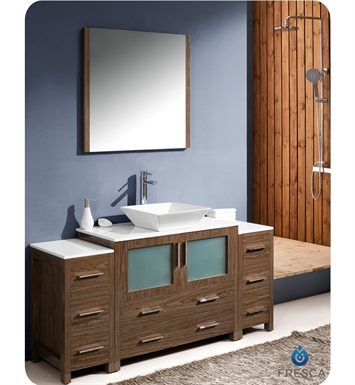 "Fresca Torino 60"" Walnut Brown Modern Bathroom Vanity with 2 Side Cabinets and Vessel Sink"